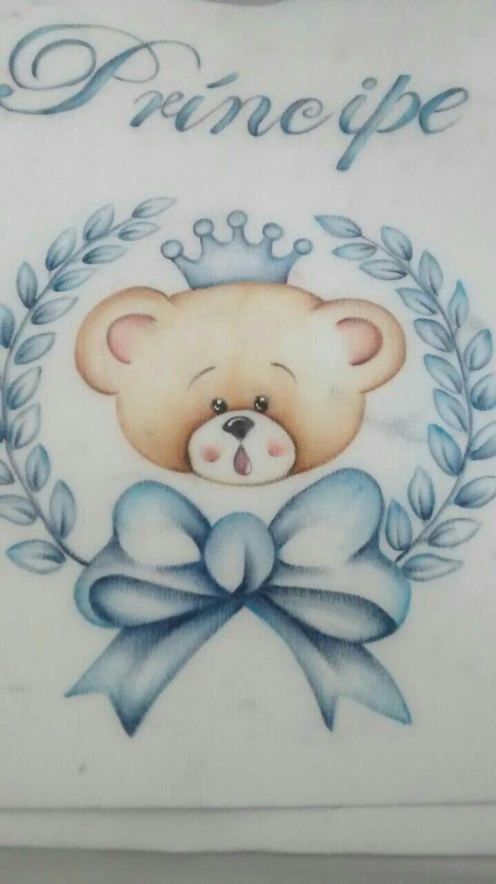 Ursinho Pintura Em Fraldas Pinturas Em Tecido Fraldas E Pintura
