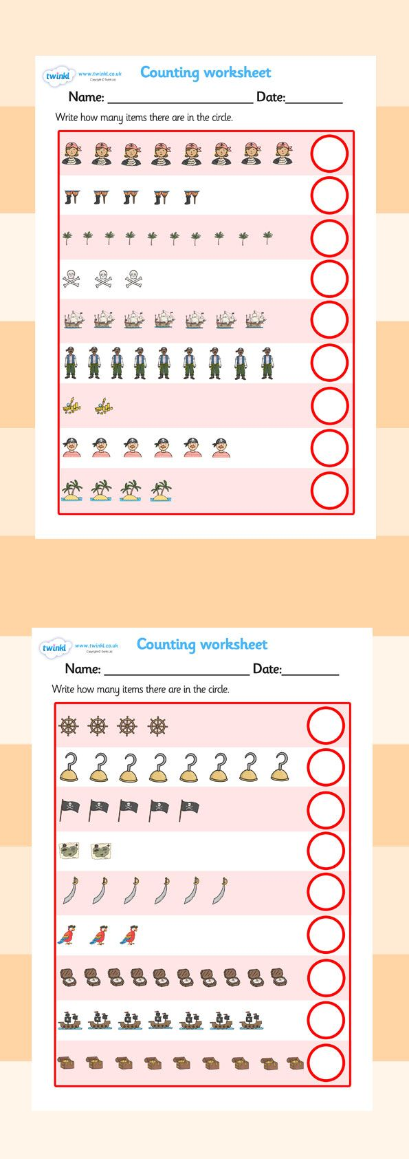 twinkl resources counting worksheets pirates classroom printables for pre school. Black Bedroom Furniture Sets. Home Design Ideas