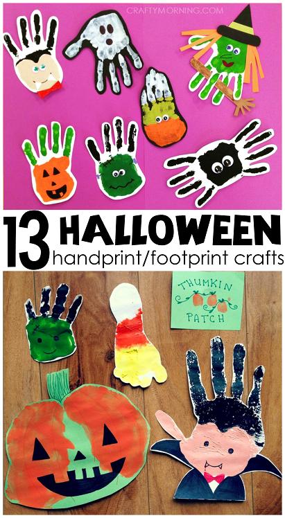 Adorable Handprint/Footprint Halloween Crafts for Kids to ...
