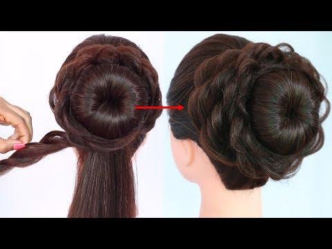 Messy Bun For Gown Lehenga Saree Western Wear Party Weddings Bridal Hairstyle Hairstyle Bun Hairstyles For Long Hair Easy Bun Hairstyles Hair Styles