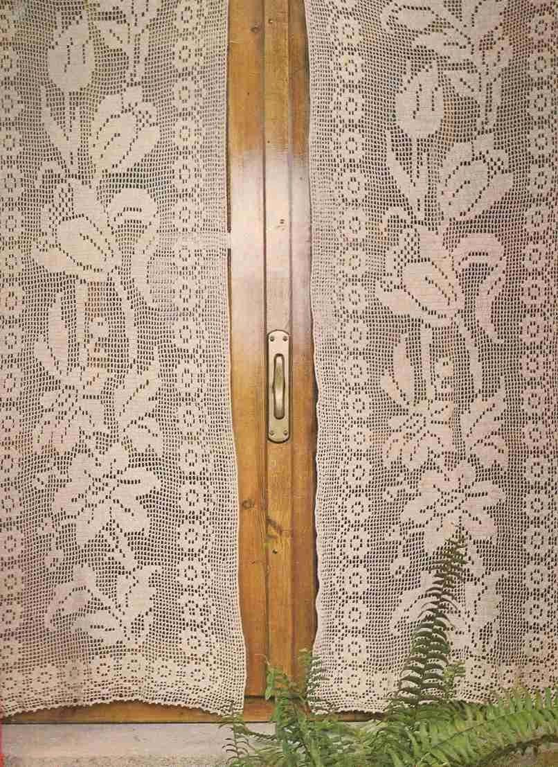 Cortina a crochet caminos de mesa pinterest cortinas for Cortinas ganchillo