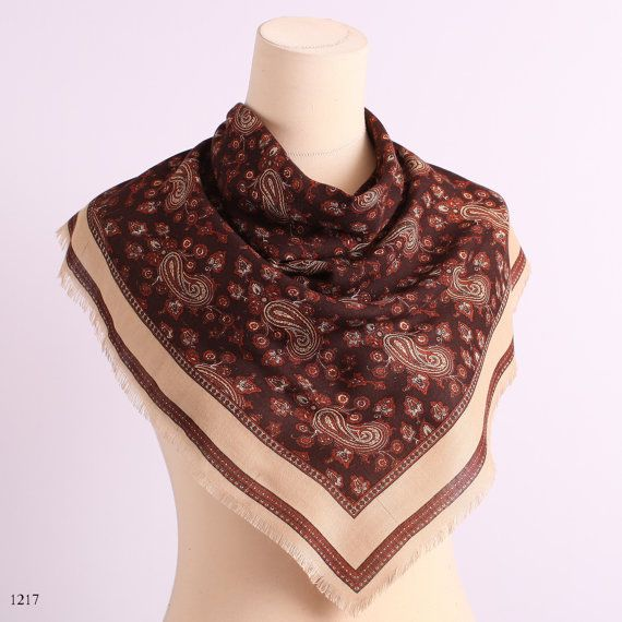 Vintage 60s Russian Style Soft Wool Scarf / Hand Printed Brown Paisley