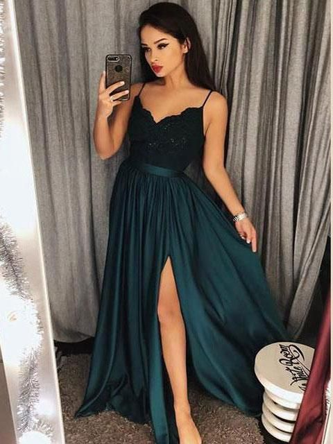 03f5fd599bc8 Prom Dresses Cheap Slit Spaghetti Strap Quinceanera Formal Evening Dress.  Green Thigh Split A Line Long Custom Made Ball Gowns from |Sheergirl.com