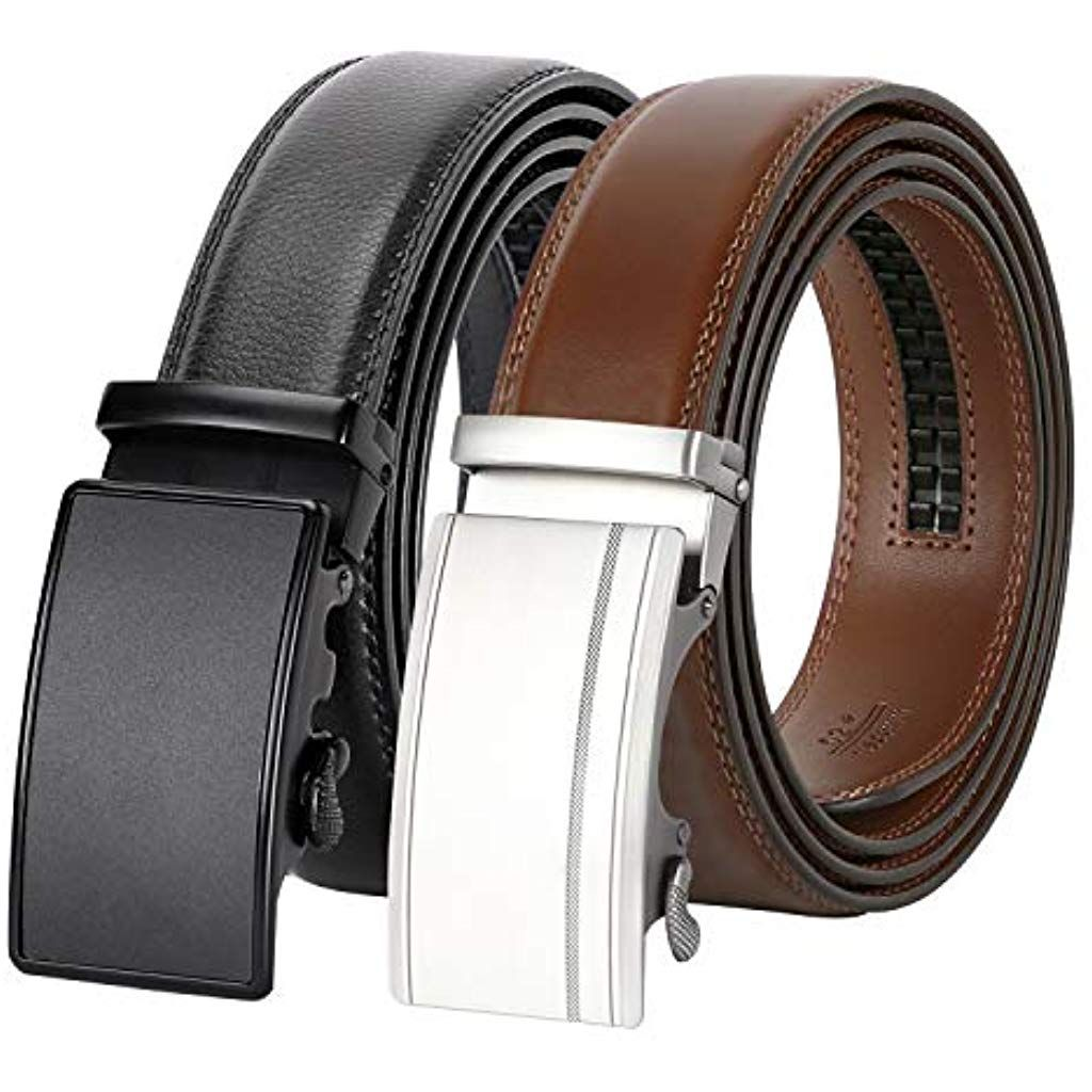 Brown Genuine Leather Mens Belts Sliding Automatic Buckle Ratchet Trousers Strap