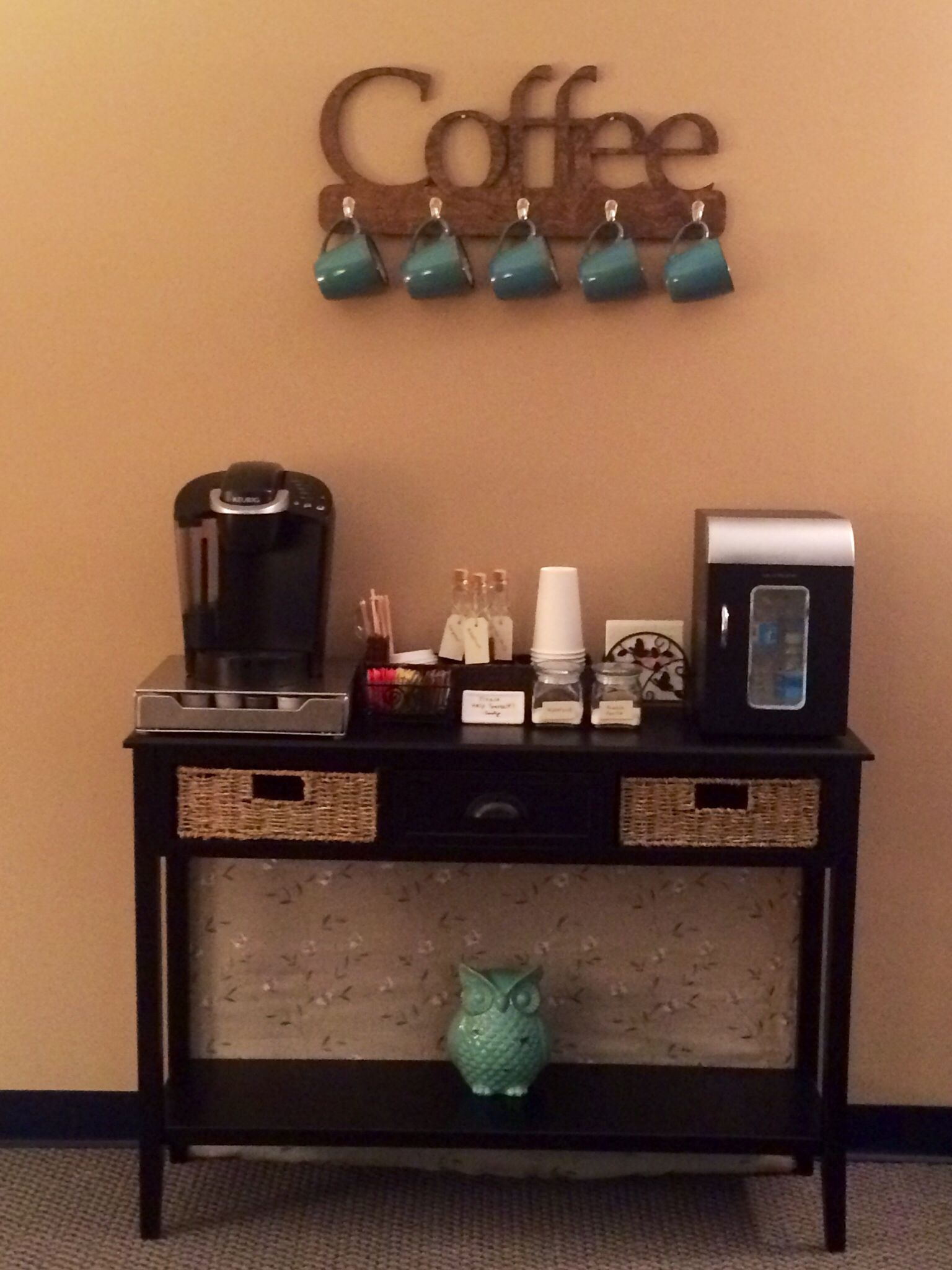 Coffee bar for my therapy office … Therapy office decor