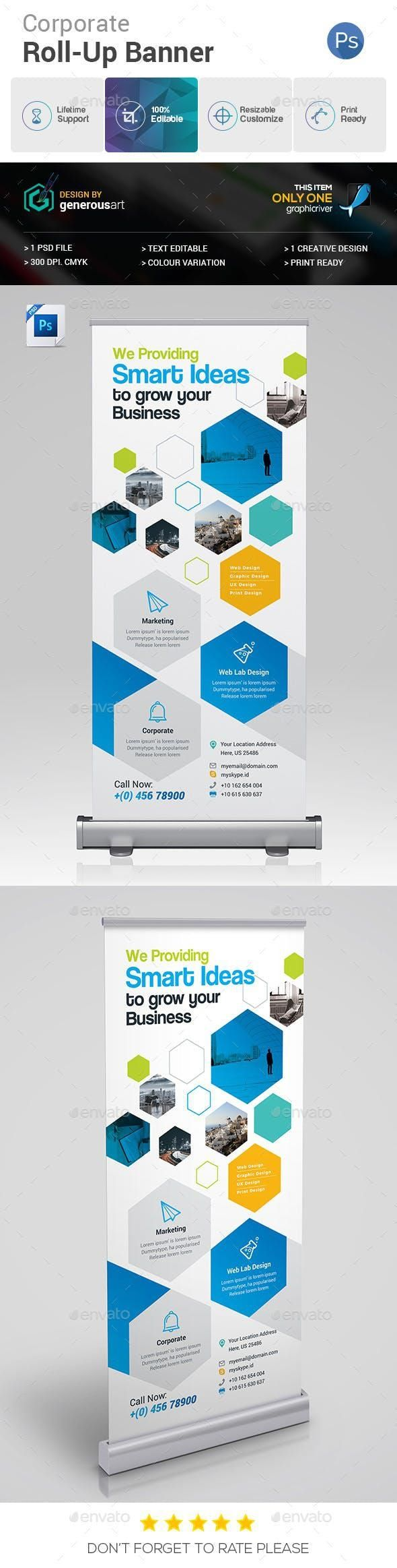 Roll-Up Banner for $6 #PrintDesign #designresource #GraphicDesign #PrintTemplate...