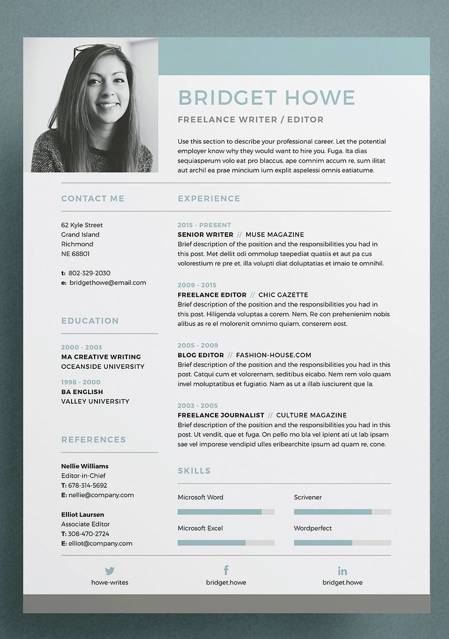 resume    cv template - bridget