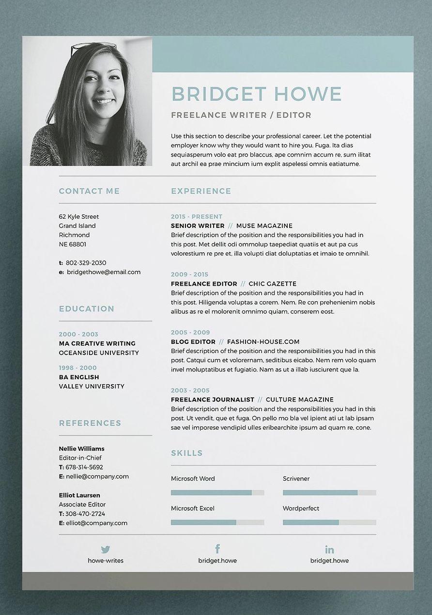 Resume Cv Bridget Graphic Design Resume Resume Design Creative Resume Design