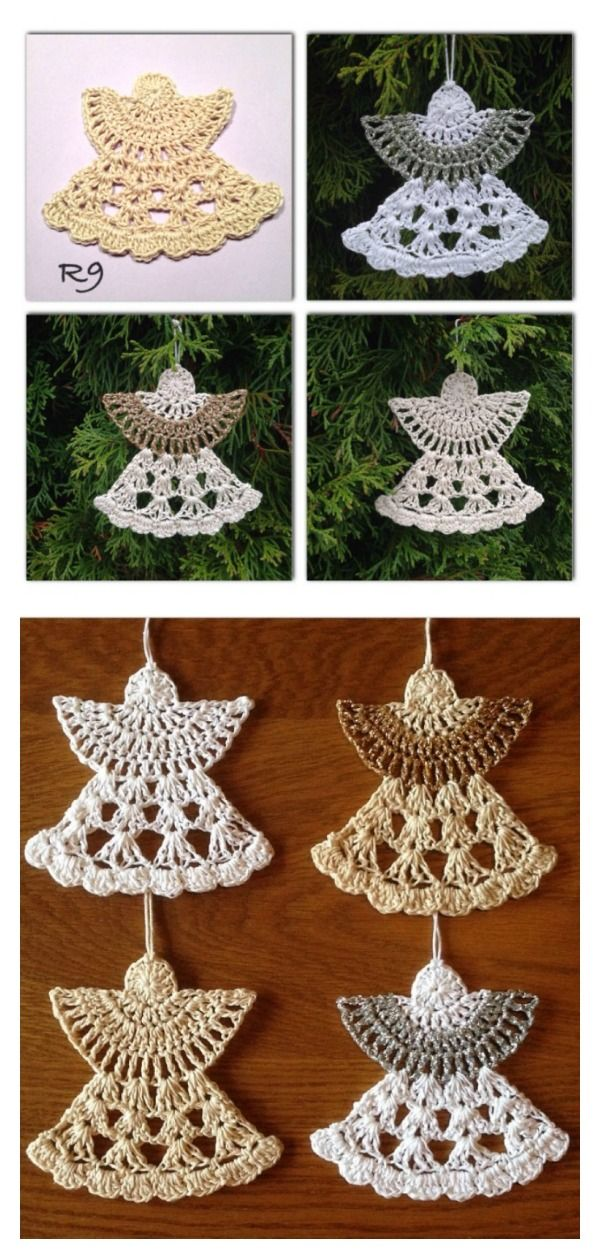 Christmas Angel Ornaments Free Crochet Pattern | Navidad, Angelitas ...