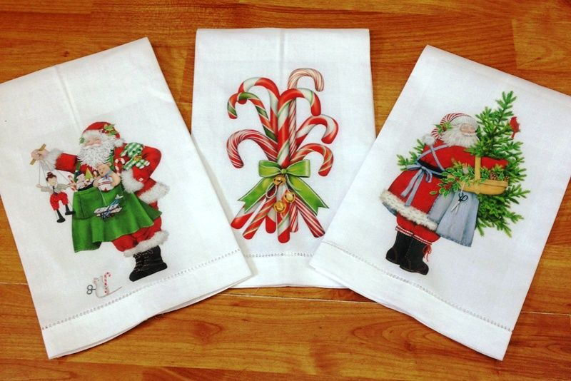 Toallas de lino con motivos navideños bordados Pinterest
