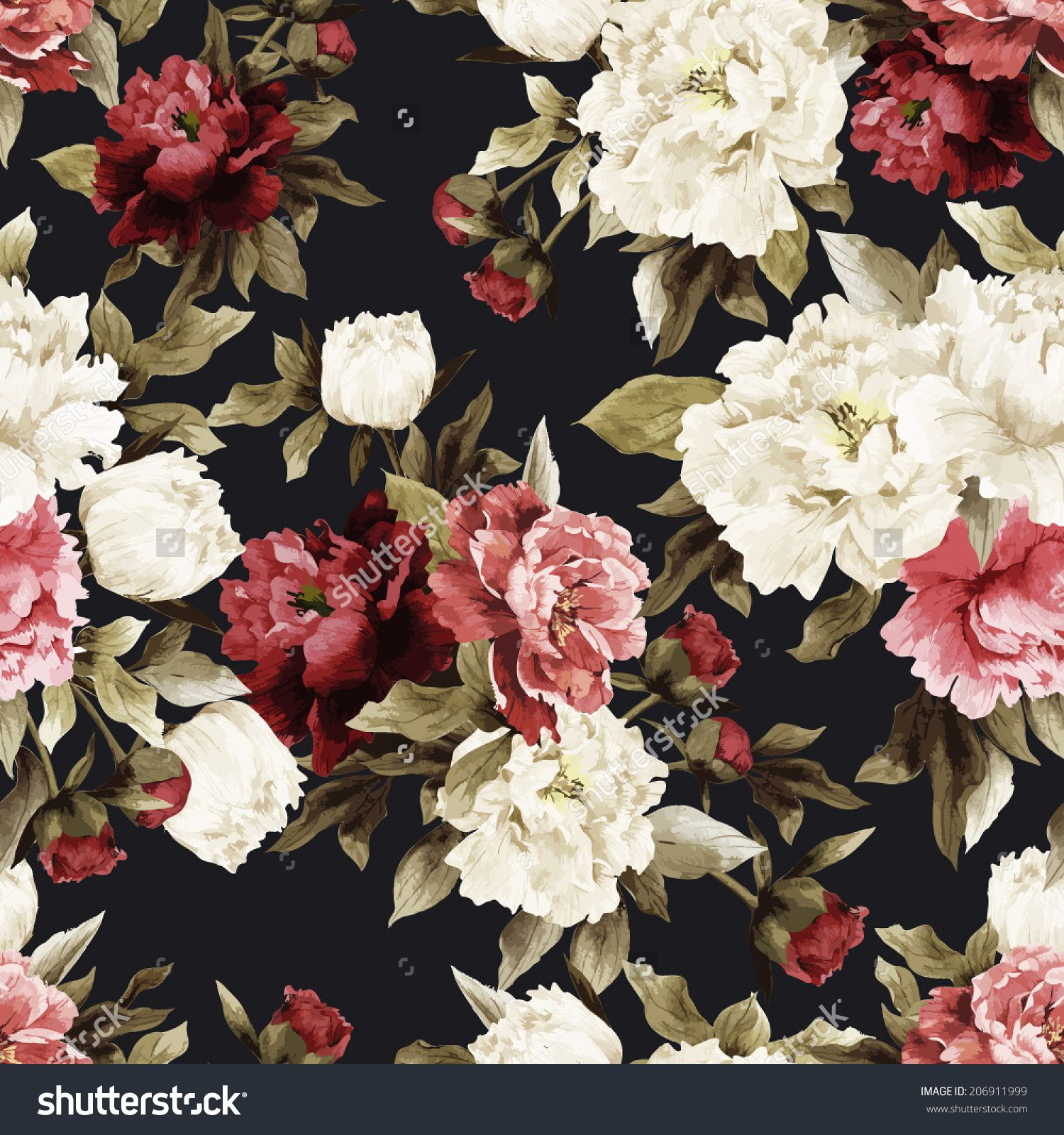 Stock Vector Seamless Floral Pattern With Roses On Dark Background