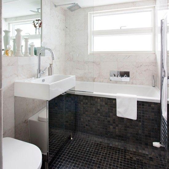 monochrome marble tiled bathroom  bathroom decorating