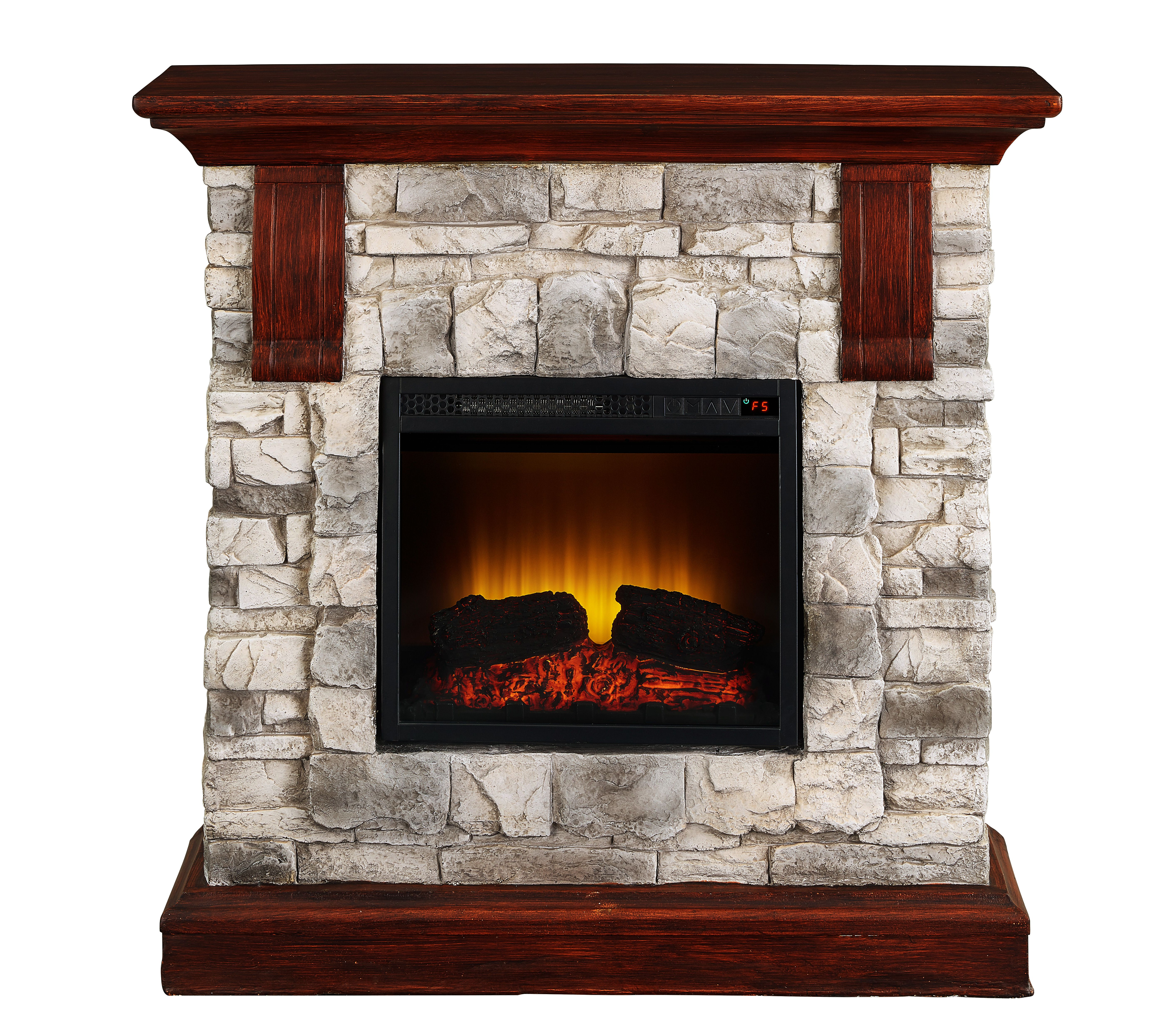 Bold Flame 40 Inch Faux Stone Electric Fireplace Heater In Tan