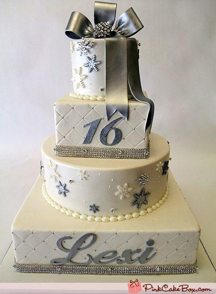 Silver Amp White Snowflake Sweet 16 Cake 187 Sweet 16 Cakes