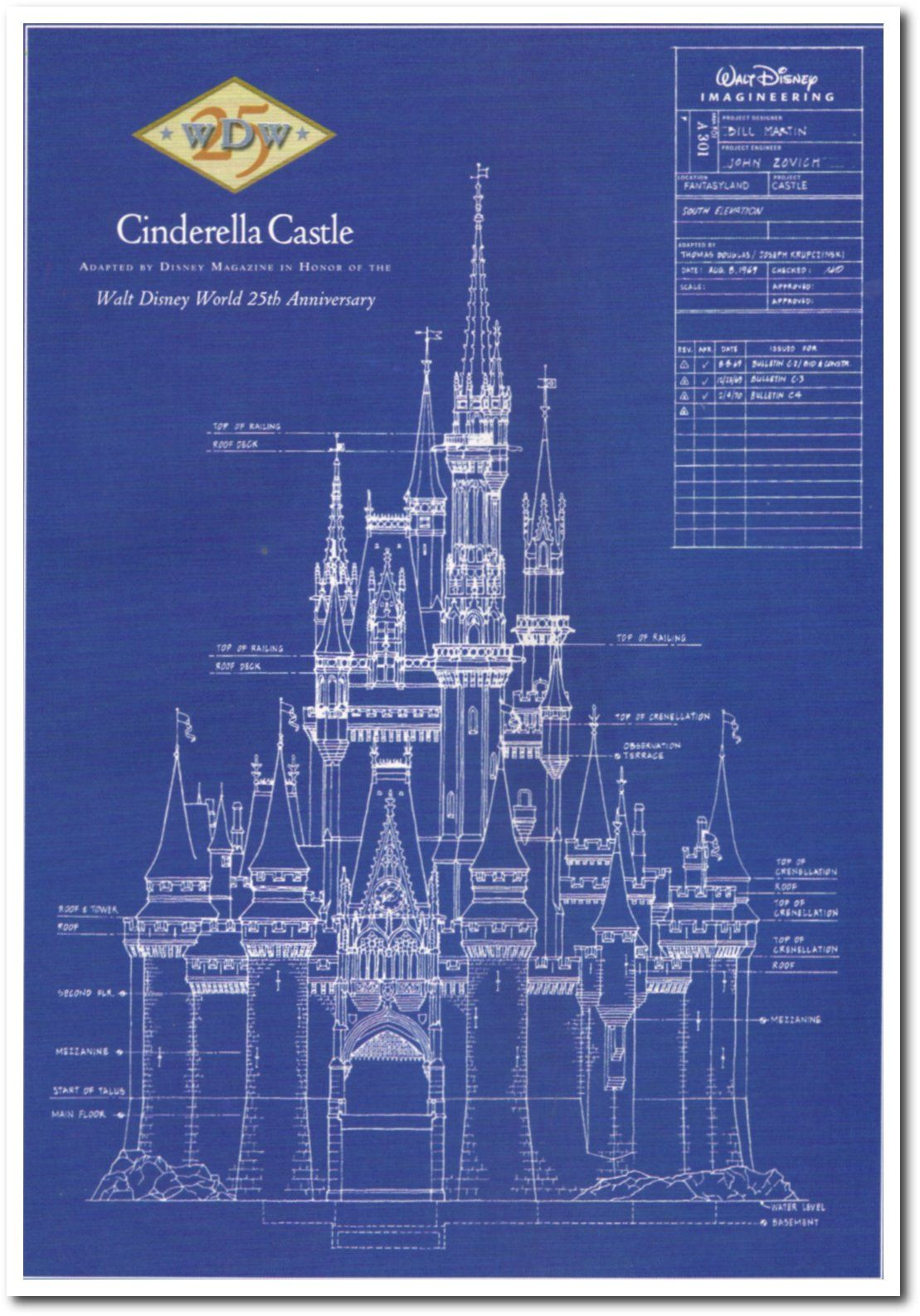 Walt disney 39 s cinderella castle 25th anniversay for Castle blueprints and plans