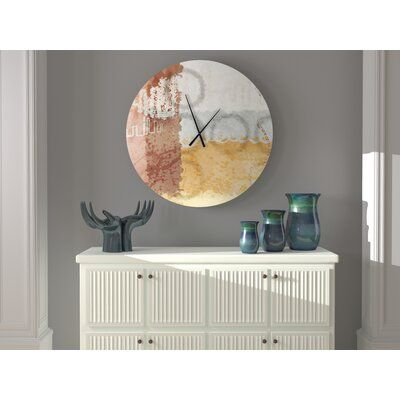 Ebern Designs This wall clock perfect for any room. The textures and colors used convey a sense of artistic mastery. Size: Small