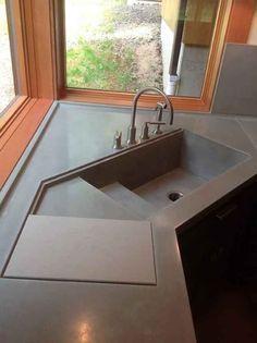 Lavello ad angolo in cemento levigato   Design   Cucine ...