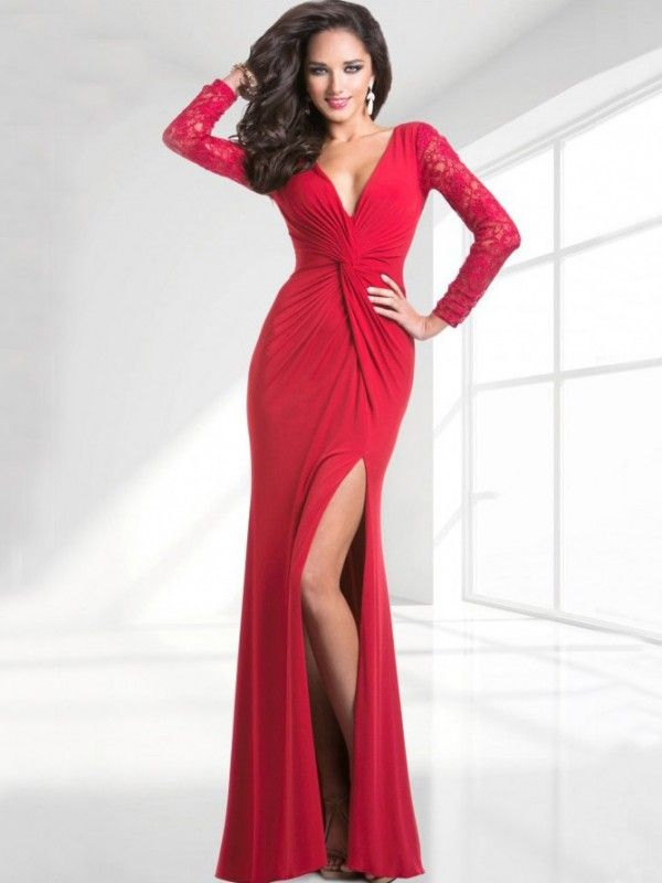 6e6d6617b7 Sexy Red High Slit V Neck Floor Length Prom Dress With Long Lace Sleeves