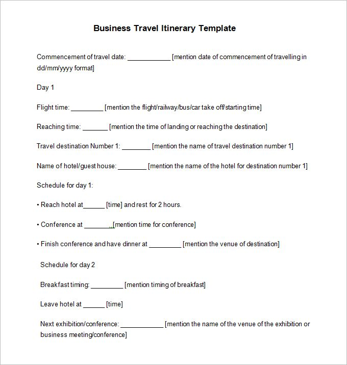 Travel Itinerary Example - 12 Free Word, Pdf Documents Download