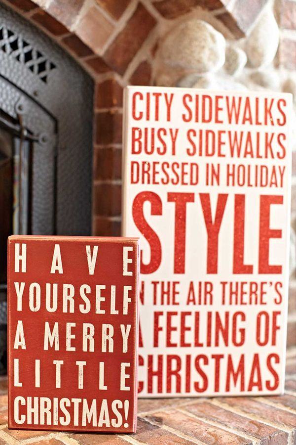 Deck your halls with these holiday wooden box signs at Iron Accents ...