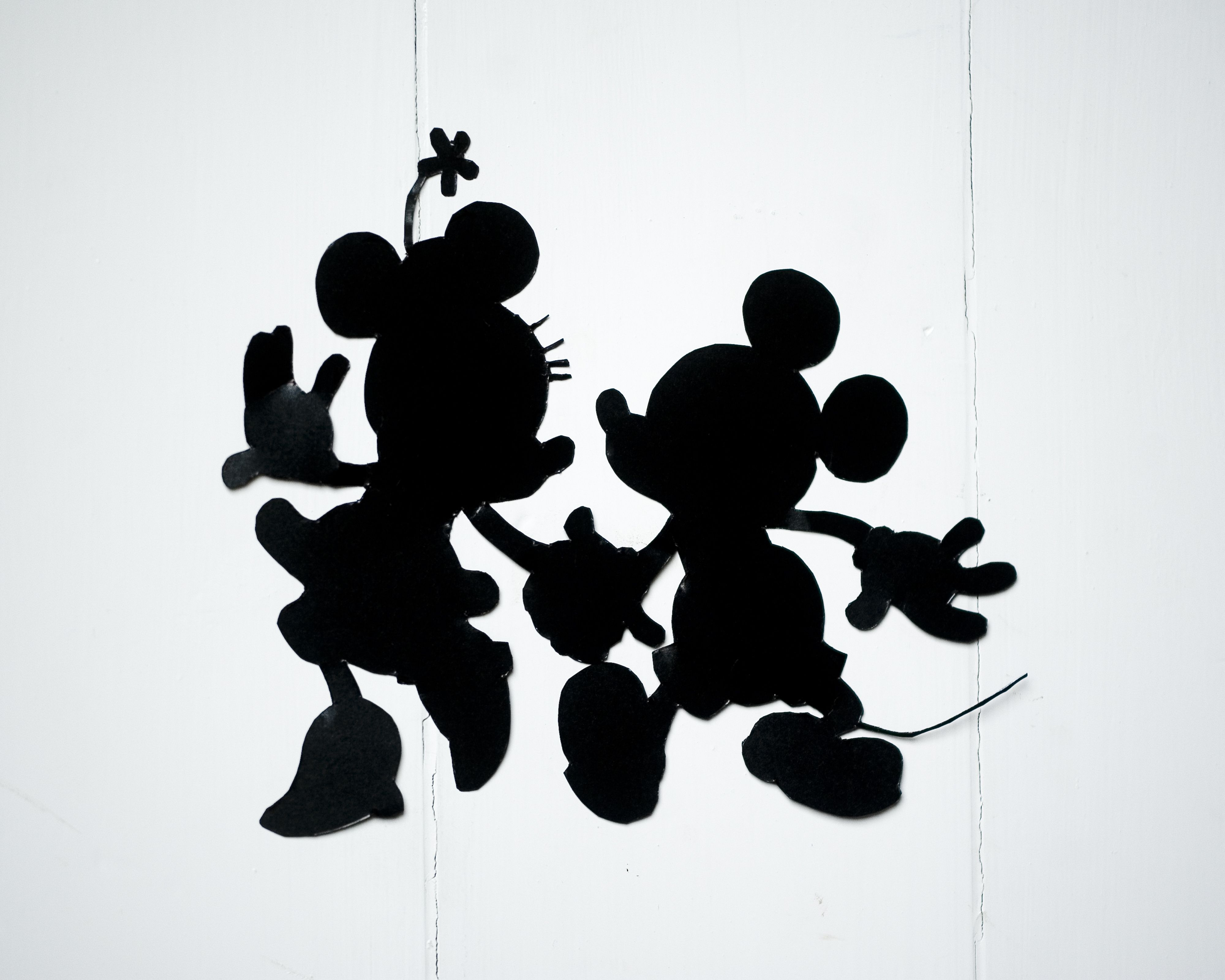 Handcrafted Disney silhouettes Mickey and Minnie Mouse