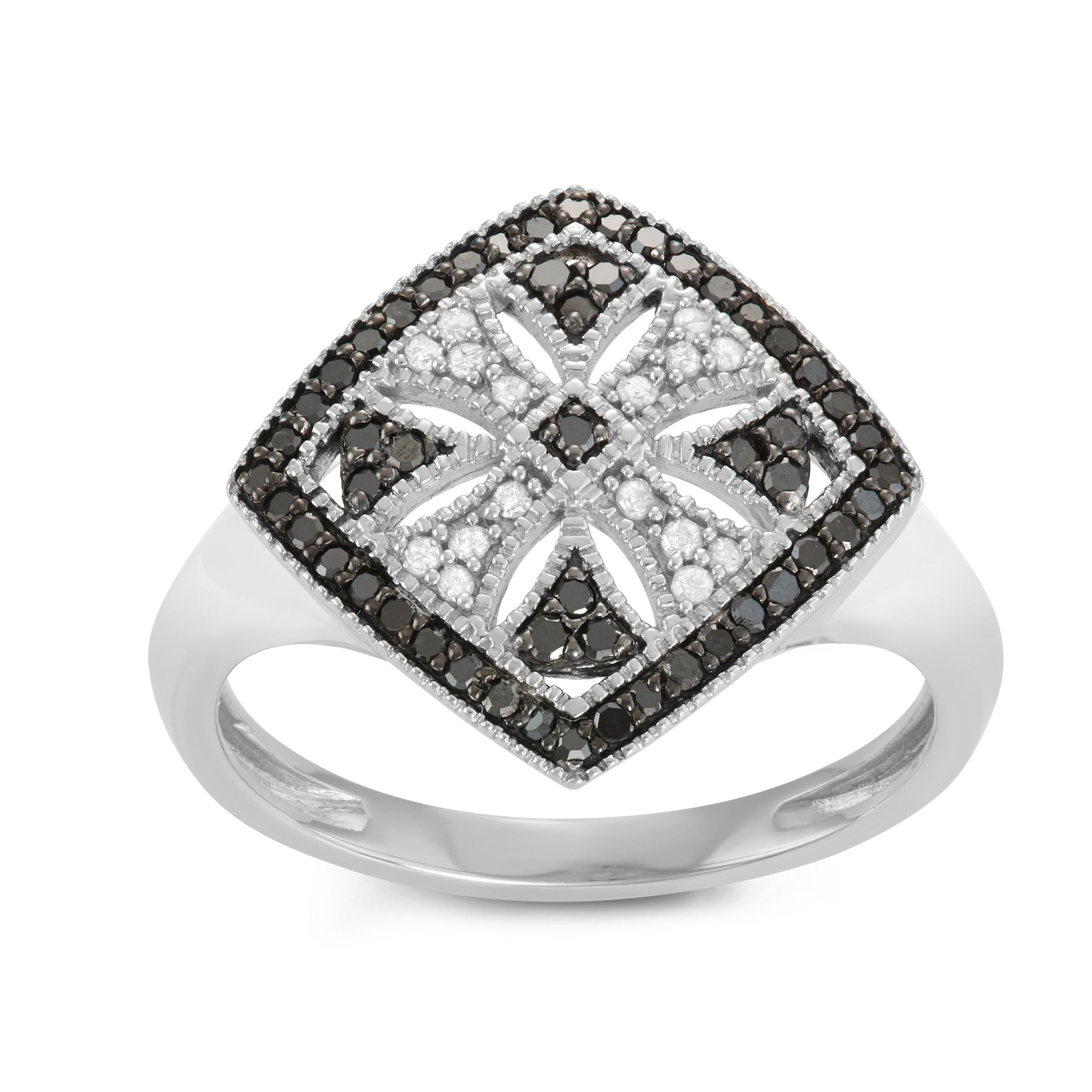 Journee Collection Sterling Silver 3/4 CT TDW Black and Diamond Micropave Square Ring, Women's