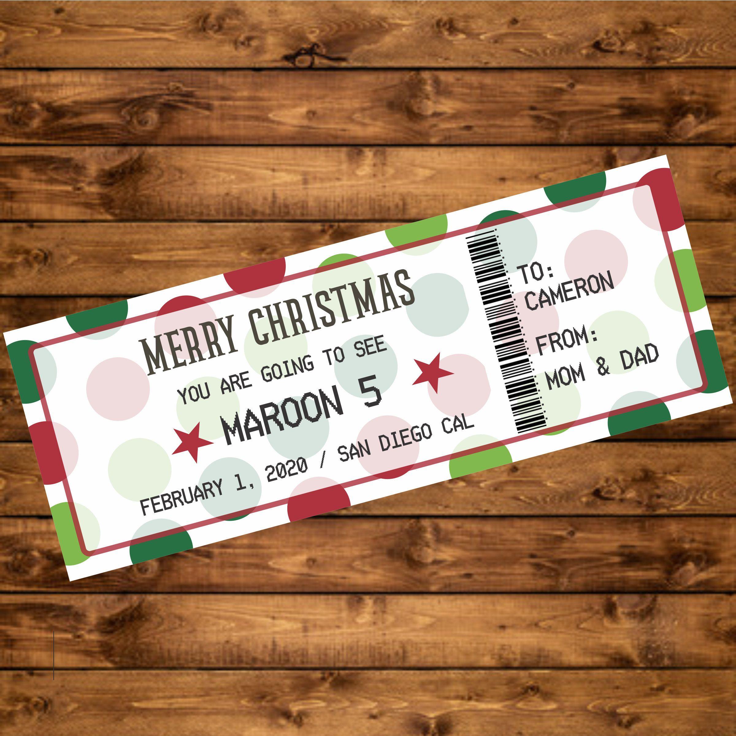 Ed Sheeran 2019 Gift Card Present Birthday Christmas Ticket with envelope