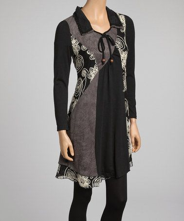 02403bfb70b Take a look at this Black   Crème Floral Embroidered Linen-Blend Tunic by  Pretty Angel on  zulily today!  35 !!