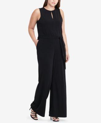 ecc55e3b1bf Lauren Ralph Lauren Plus Size Jersey Wide-Leg Jumpsuit