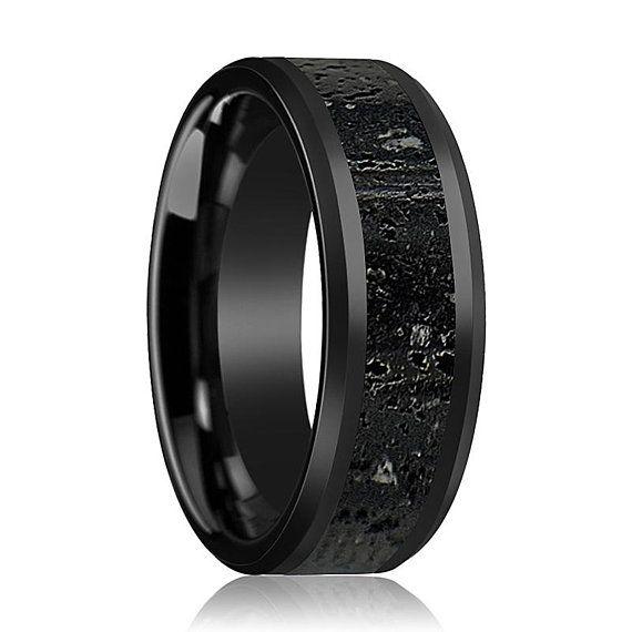 Black Gray Lava Rock Stone Inlay Ceramic Wedding Band Etsy Black Ceramic Ring Black Wedding Rings Ceramic Wedding Bands