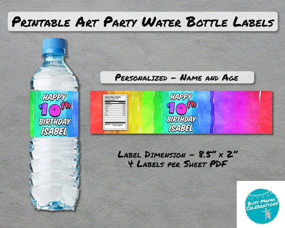 Art Party Water Bottle Label Printable Paint Themed Party