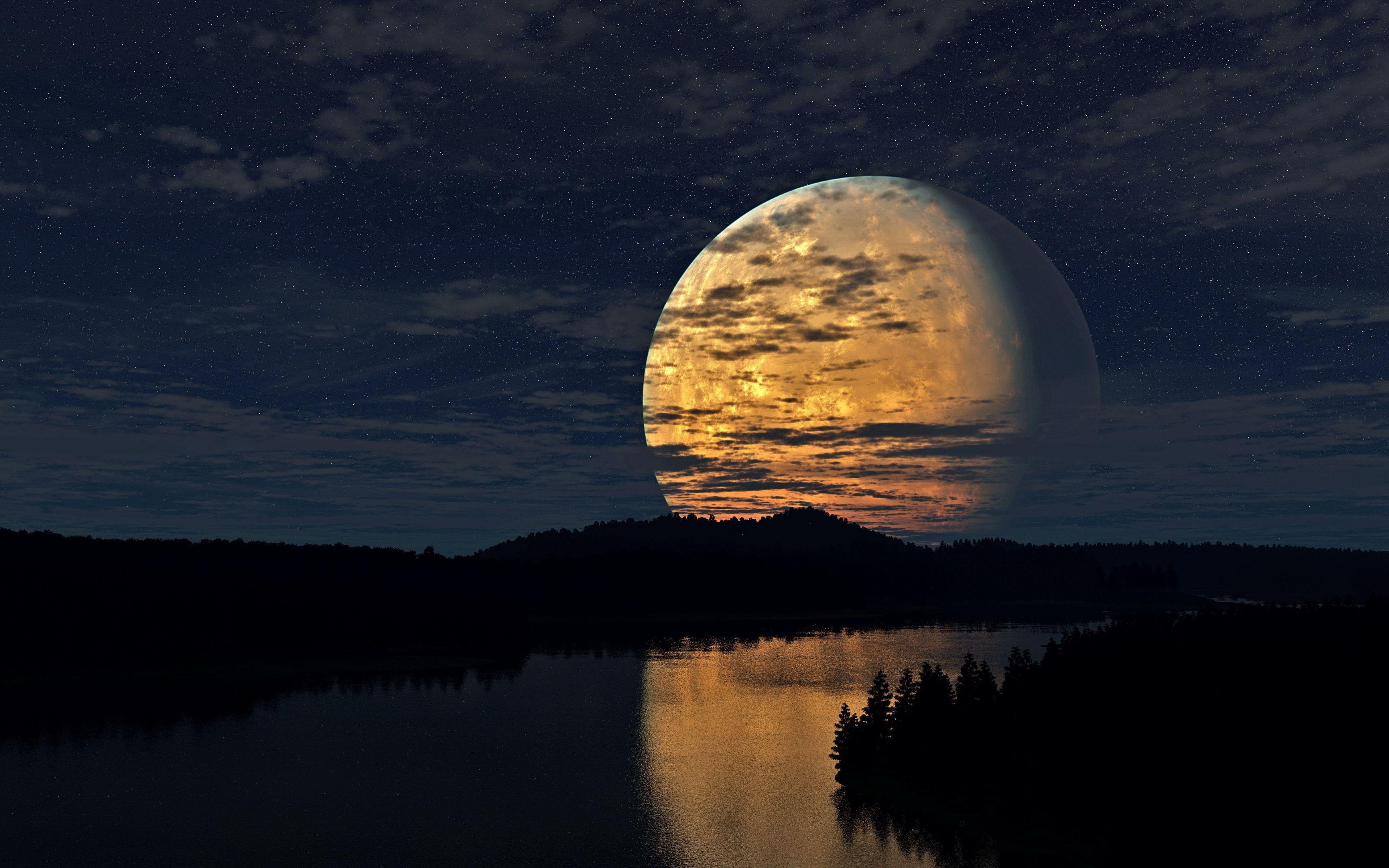 3840x2400 Wallpaper Night Sky Moon Trees River Reflection Night Sky Moon Sky Moon Beautiful Moon