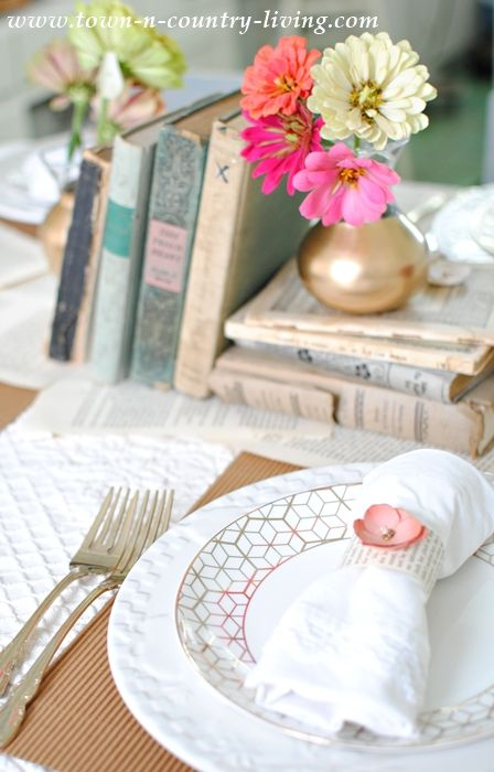 Book Loveru0027s Table Setting with Vintage Books and Gilded Vases & Book Loveru0027s Table Setting | Table settings and Country living