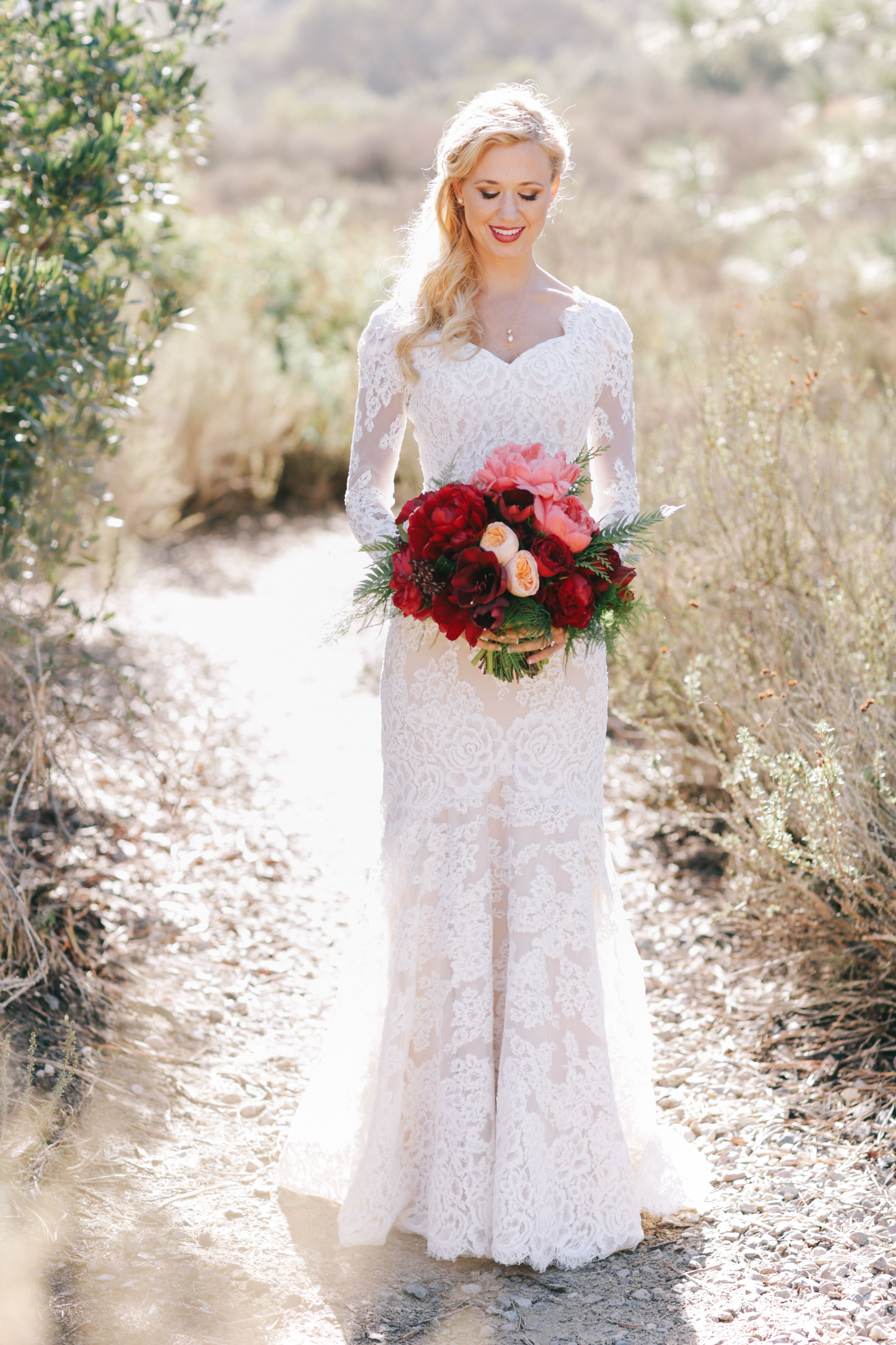 White Lace Sleeved Anne Barge Wedding Gown | Wedding Dress ...