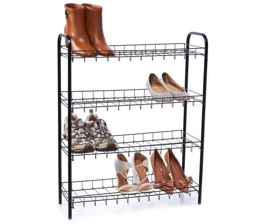 Home Essentials Black 4 Tier Wire Shoe Rack Shoe Rack Rack