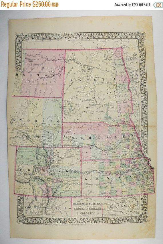 Colorado Map Dakota Kansas Map Nebraska Wyoming Map 1871 Mitchell Map Historical Us Map Vintage Western United States Map Unique Art Gift