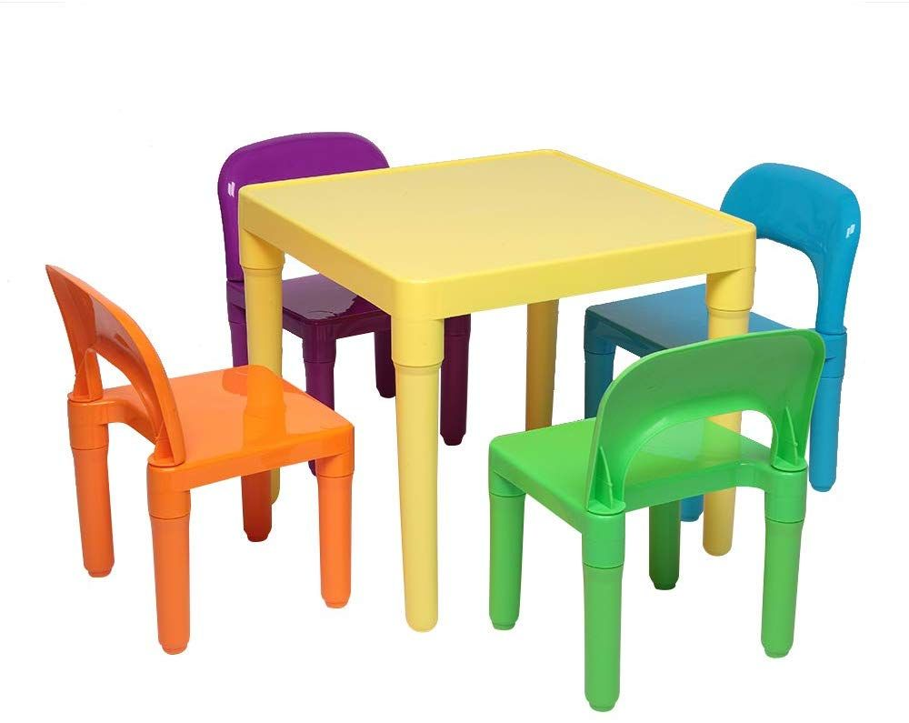 Rgmer Set Of Plastic Table And Chair For Children One Desk And Four Chairs 50x50x46cm Kids Table And Chairs Plastic Tables Chair