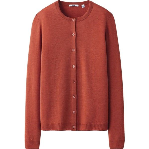 UNIQLO Women Extra Fine Merino Crew Neck Cardigan ($13) ❤ liked on Polyvore featuring tops, cardigans, outerwear, orange, uniqlo, red top, uniqlo cardigan, merino wool cardigan and red cardigan