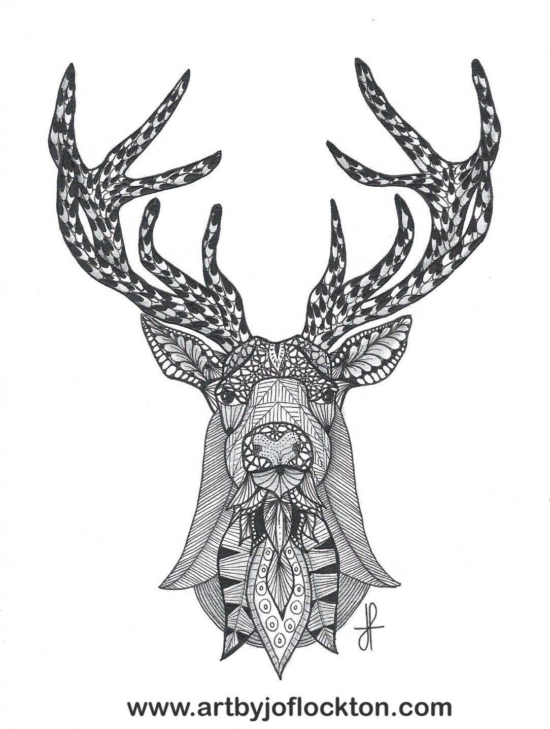Tangled Deer Head | Tangled Art by Jo Flockton | Pinterest | Colorin ...