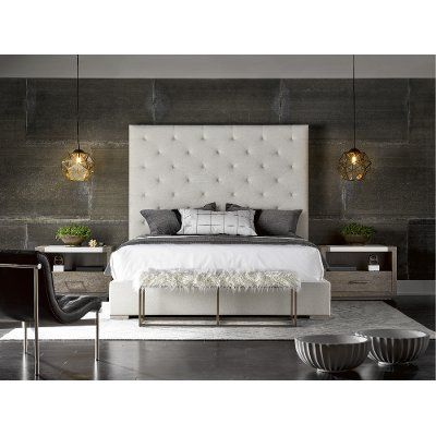Contemporary Off-White Upholstered King Bed - Modern Places to