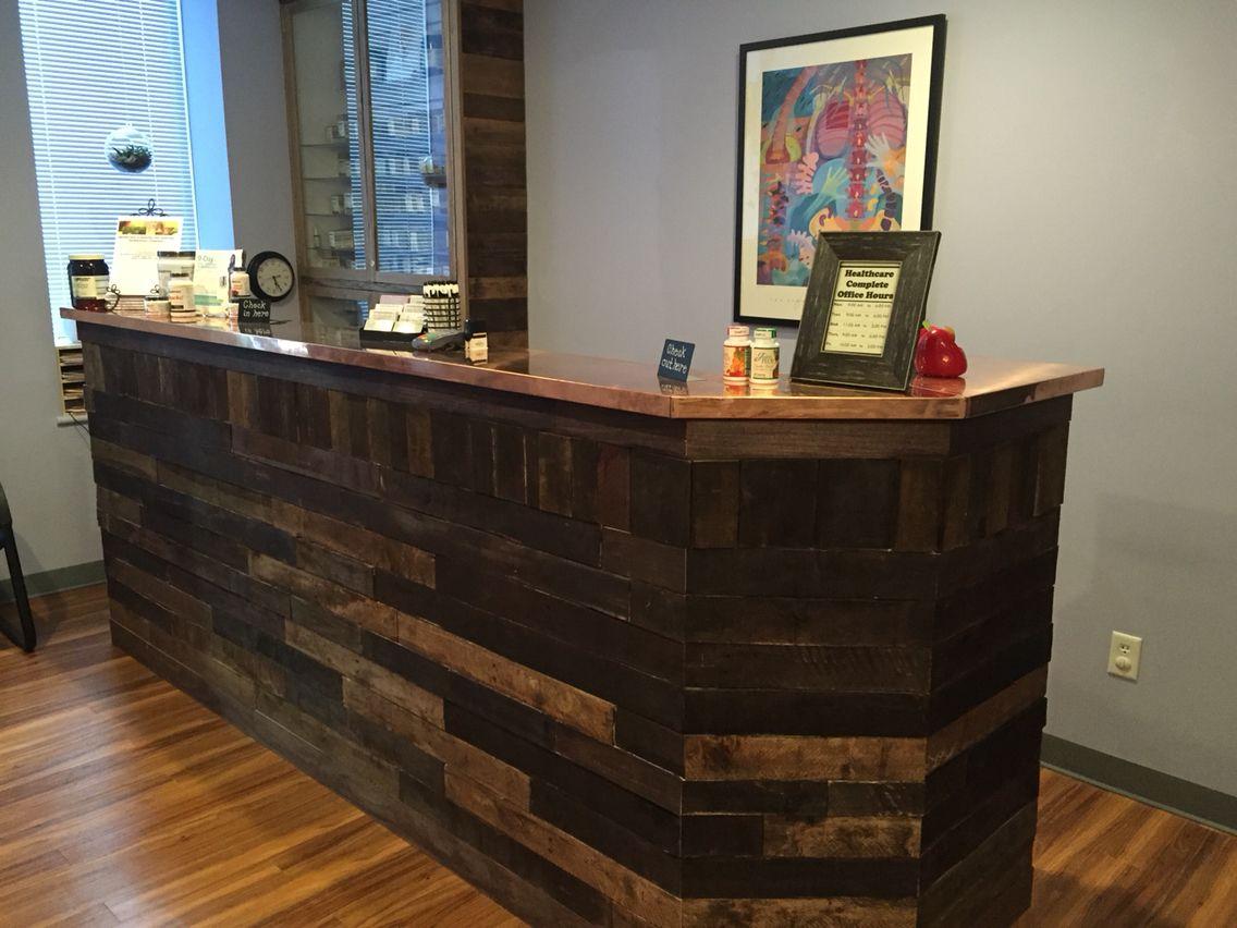 Chiropractic office reception desk reclaimed wood pallet ...