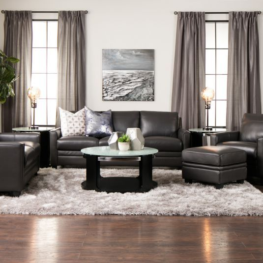 Cambria Leather Living Room Collection Jerome S Furniture Family Room Furniture Layout Leather Couches Living Room Charcoal Living Rooms