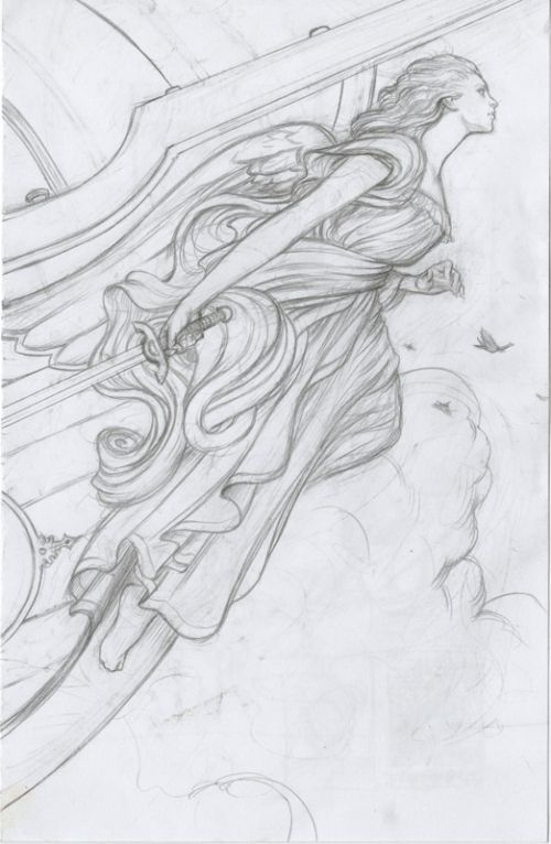 ship's figurehead drawing from James Jean Fables #woodcarvingtoo