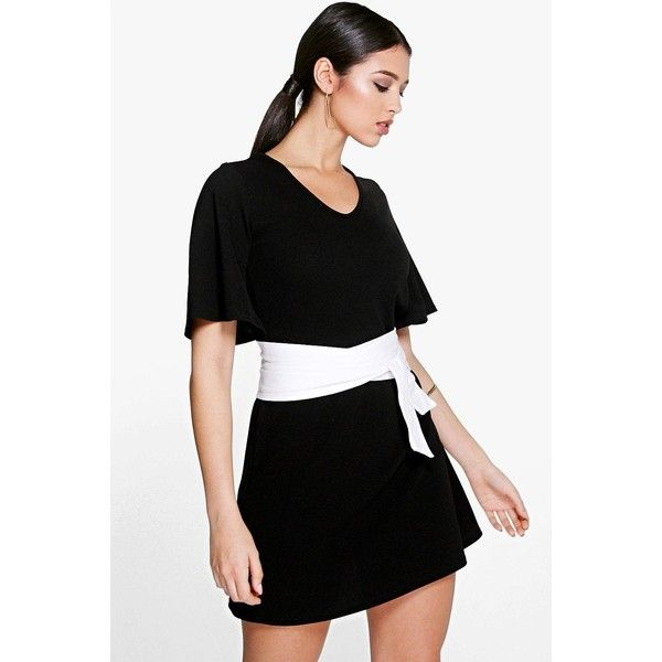 Boohoo Corina Obi Belted Shift Dress (€14) ❤ liked on Polyvore featuring dresses, black, layering cami, boohoo dresses, camisole dress, cocktail dresses and cocktail shift dress
