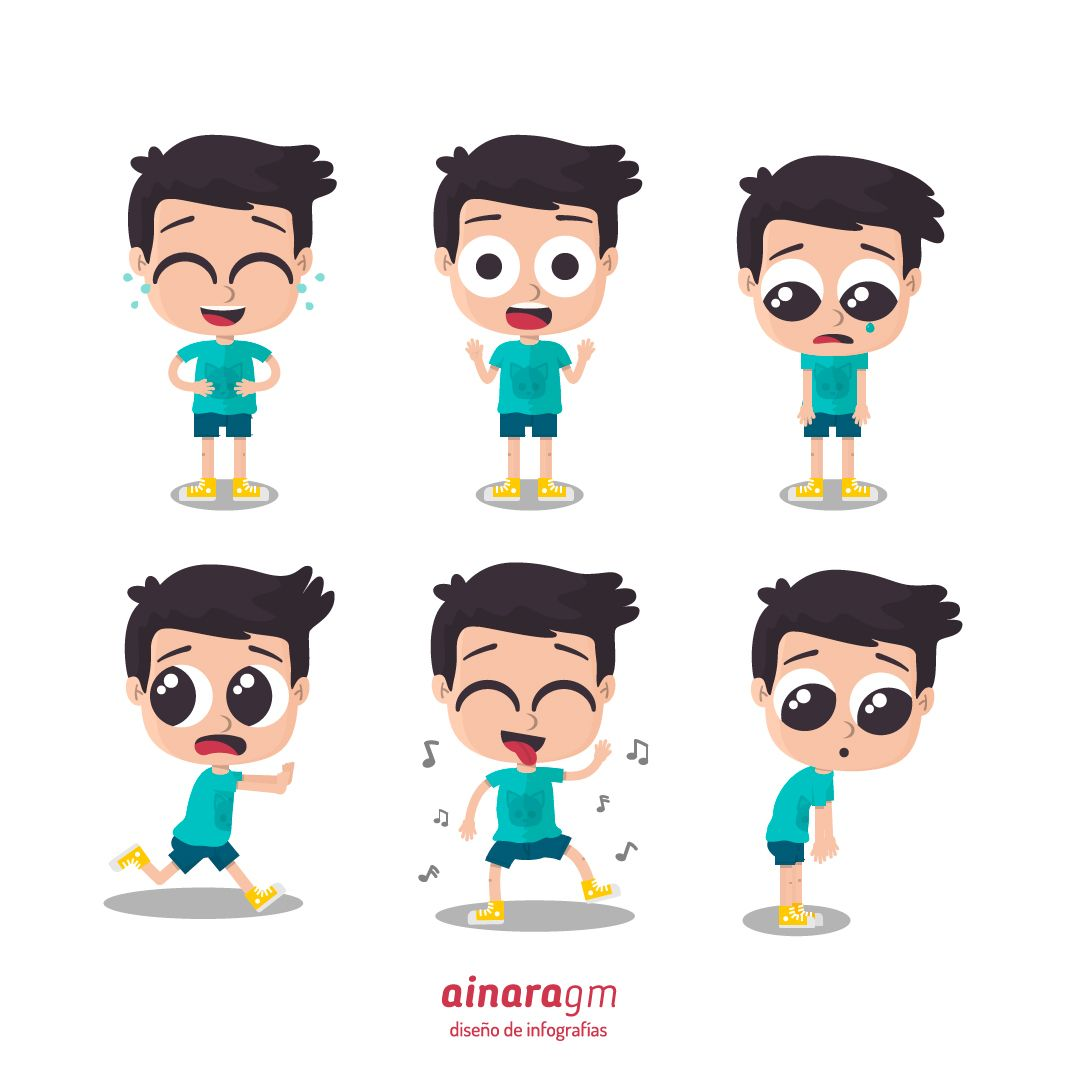 Illustration Of Boy Showing Different Emotions Laughing