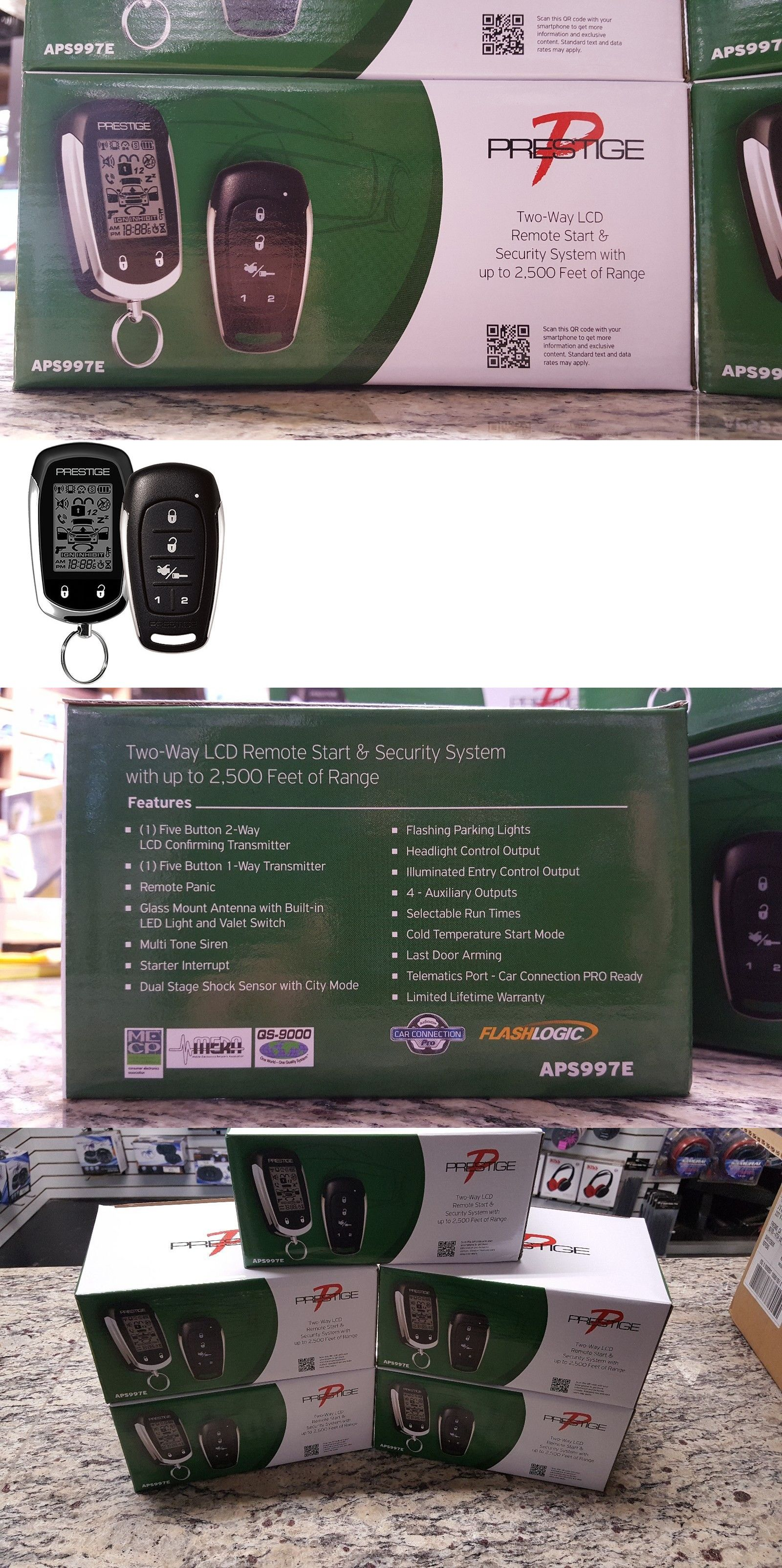 Car Alarms And Security Systems New Audiovox Prestige Aps997e 2 Way Headlight Alarm Remote Start
