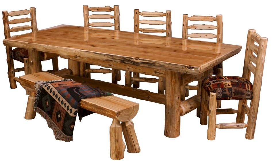 Northern Cedar Log Dining Table Real Wood High Quality Western ...