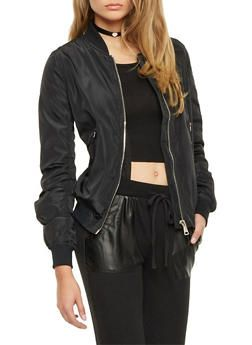 Bomber Jacket with Zip Pockets - 1008058750014