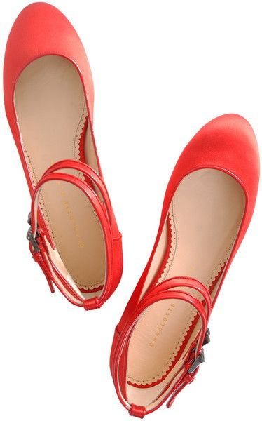 Charlotte Olympia Double Strap Satin Ballerina Flats in Red - Lyst #charlotteolympia