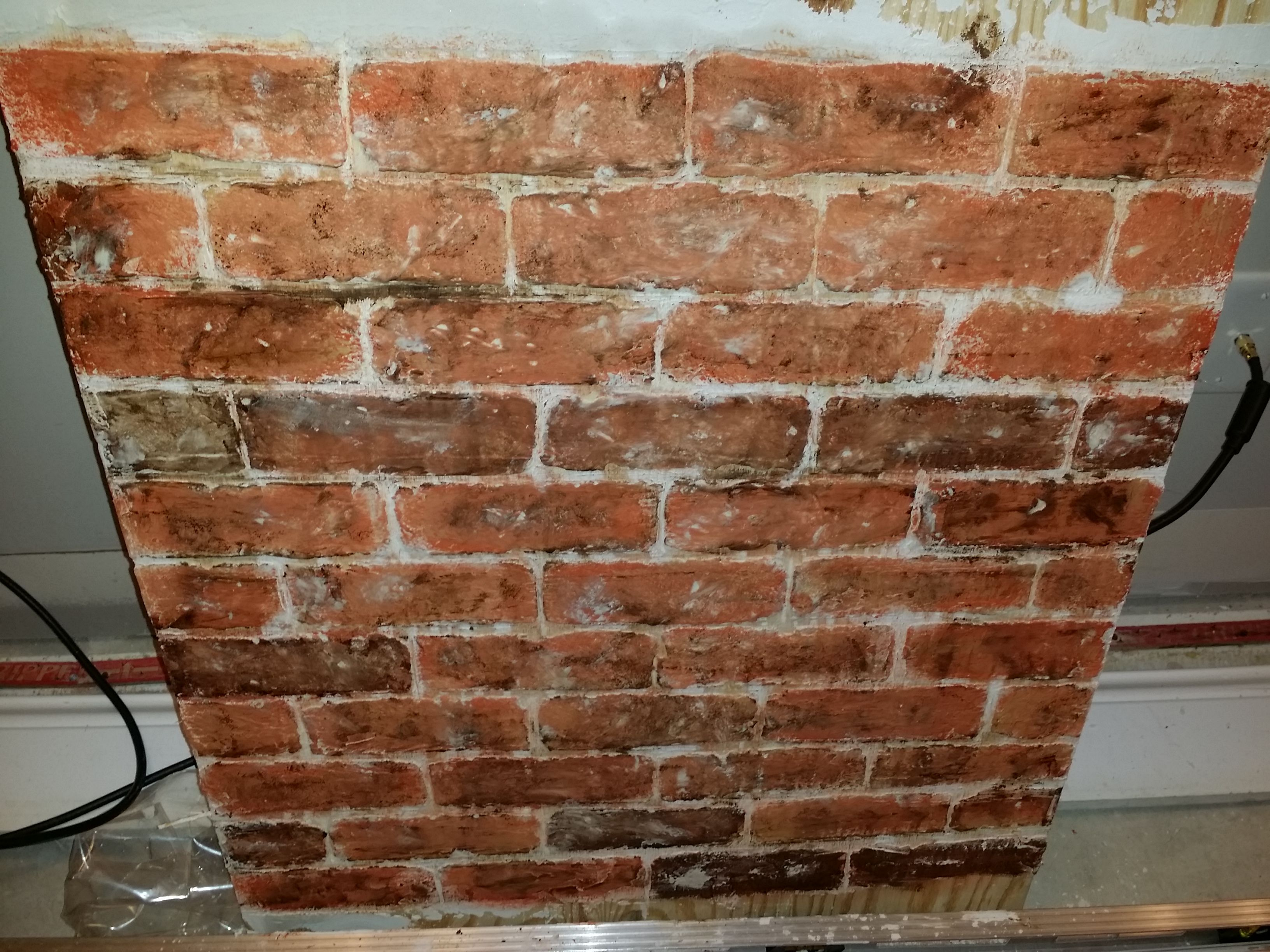 Made This Faux Fake Brick Wall With Joint Compound My Long Silver Level And The End Of A Paintbrush I Let It D Faux Brick Walls Fake Brick Wall Faux Brick